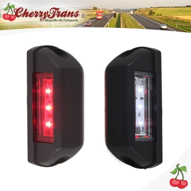 Lampa obrysowa tylna LED - biało czerwona - BUS