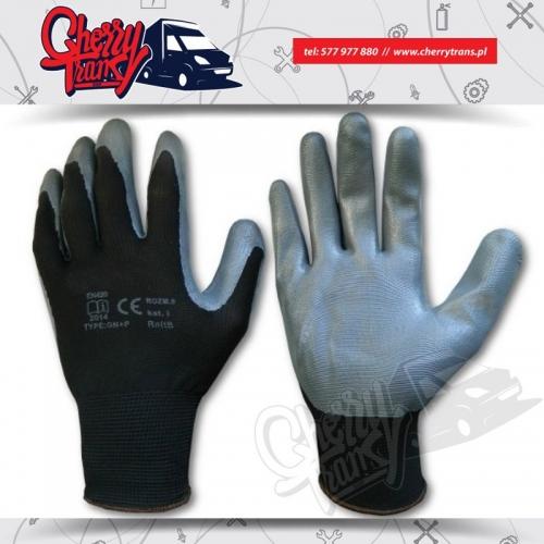Rękawice robocze nylonowe czarne oblewane nitrylem w kolorze szarym