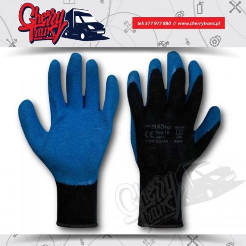 Rękawice robocze, dziane, ocieplane, powlekane niebieskim lateksem powłoka szorstkowana